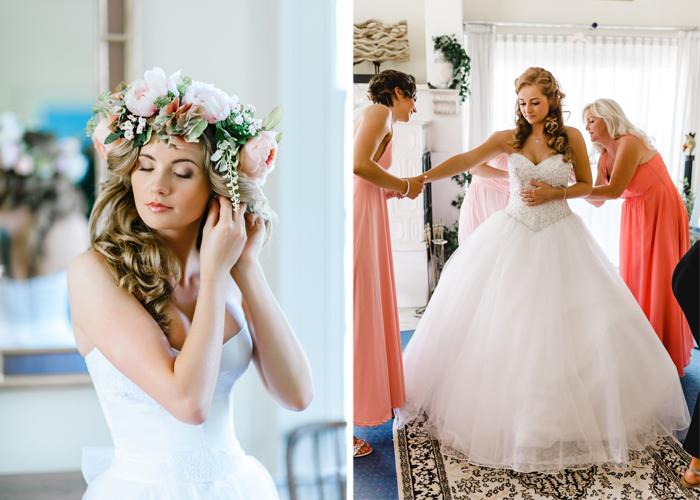 Braut bereitet sich auf Hochzeit vor
